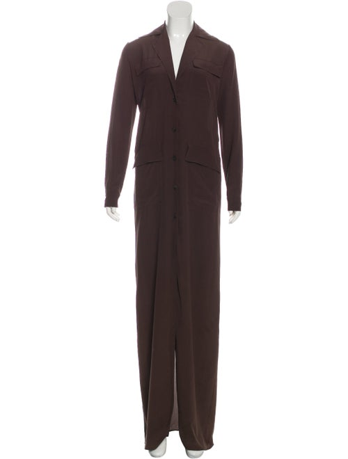 Gucci Button-Up Maxi Dress Brown