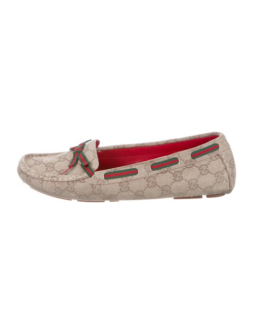 Gucci GG Canvas Bow Accents Moccasins