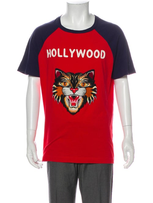Gucci Angry Cat Graphic Print T-Shirt Blue