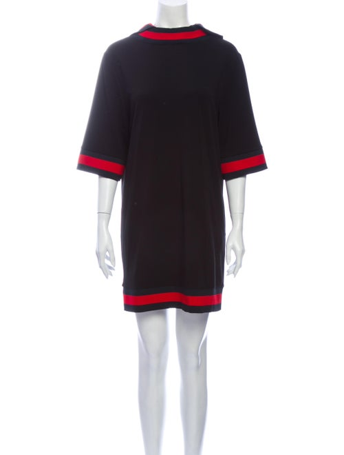 Gucci Mock Neck Mini Dress Black
