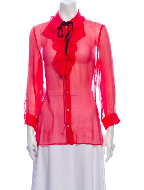 Gucci 2015 Silk Button-Up Top Pink