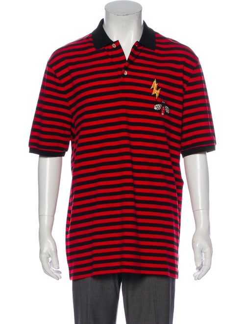 Gucci Bee Striped Polo Shirt Red