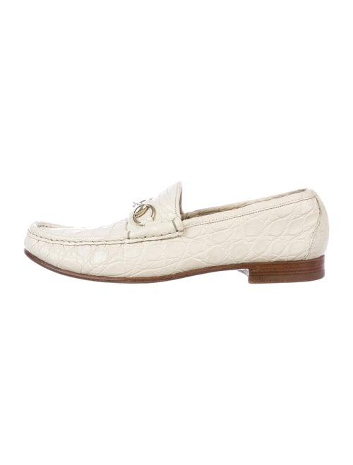 Gucci Crocodile Dress Loafers White