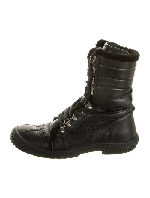Gucci Leather Combat Boots Black