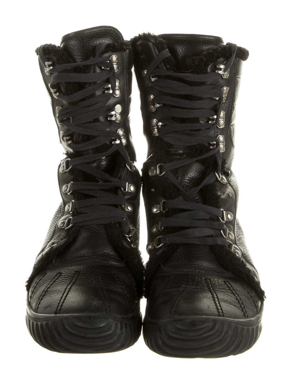 Gucci Leather Combat Boots Black - image 3