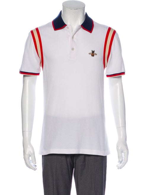 Gucci Bee Crew Neck Polo Shirt White