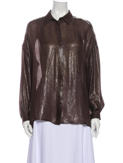 Gucci 2013 Silk Button-Up Top Brown