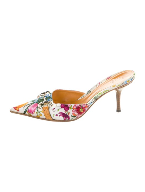 Gucci Flora Print Leather Mules White