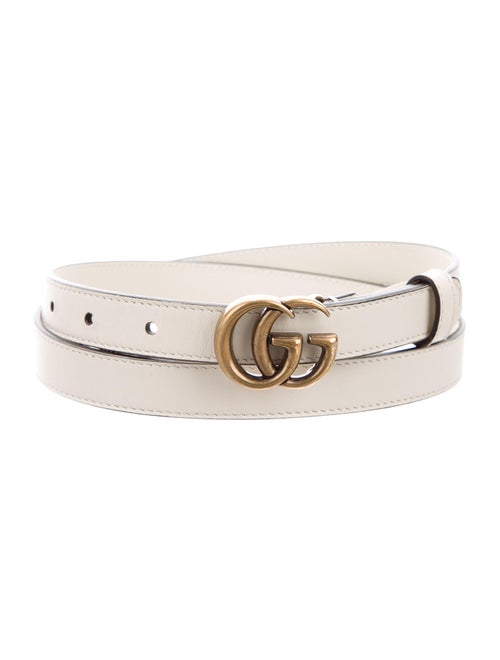 Gucci GG Leather Skinny Belt gold
