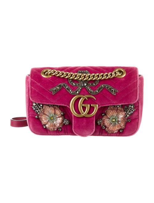 Gucci GG Marmont Embroidered Velvet Mini Bag w/ Ta