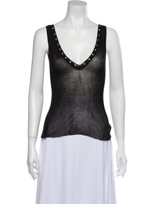 Gucci V-Neck Sleeveless Top Black