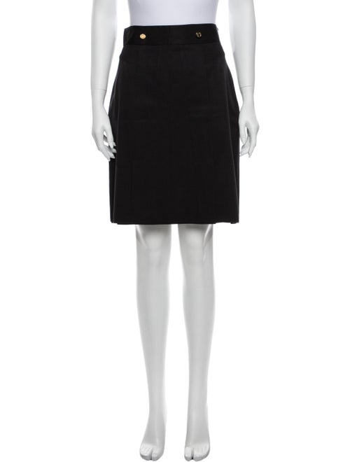 Gucci Pleated Accents Knee-Length Skirt Black