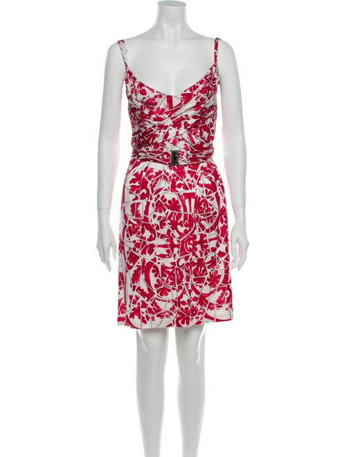Gucci Floral Print Knee-Length Dress Red