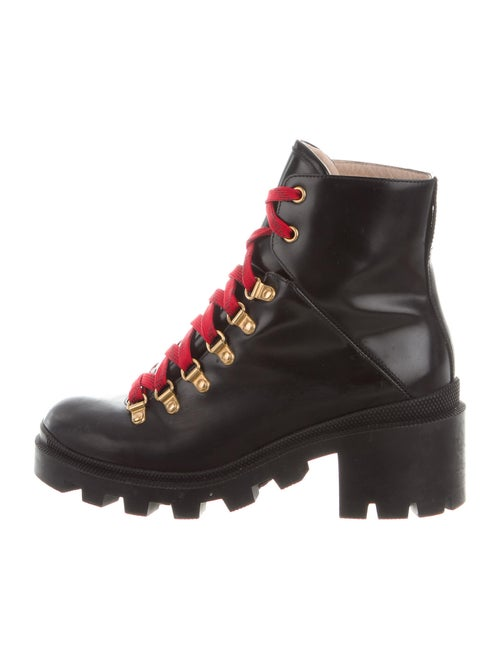 Gucci Trip Leather Combat Boots Black