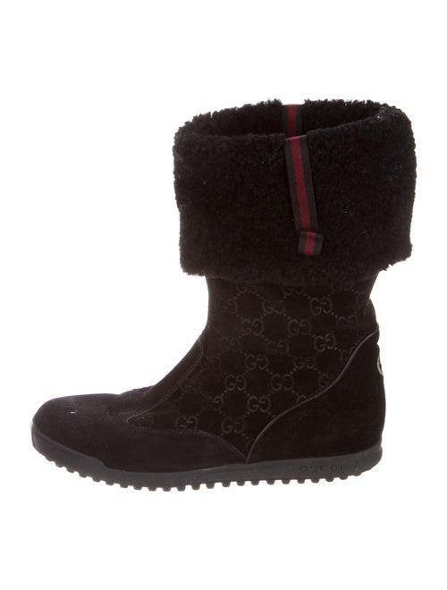 Gucci GG Signature Suede Boots Black