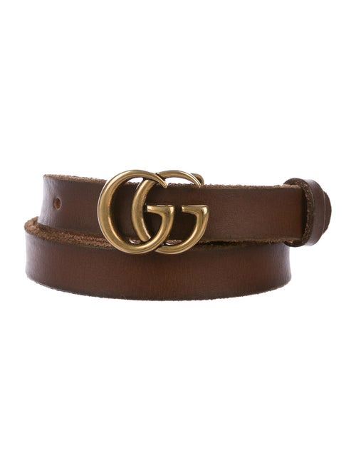 Gucci GG Skinny Leather Belt Brown