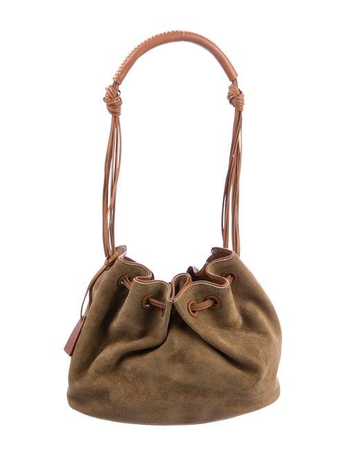 Gucci Suede Drawstring Bucket Bag Olive