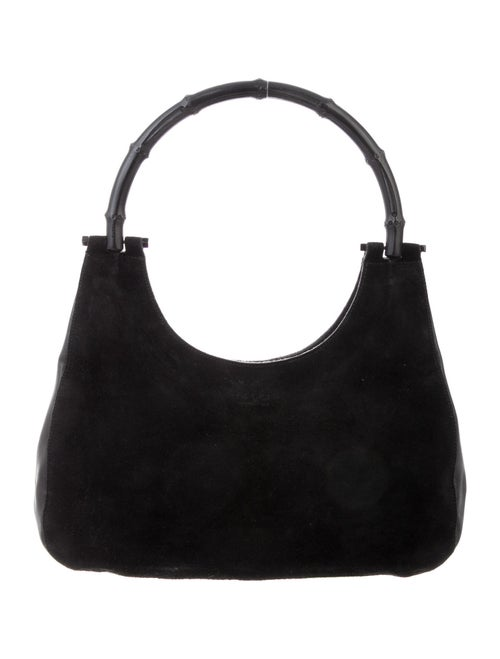 Gucci Vintage Suede Bamboo Bag Black