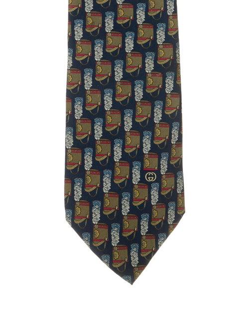 Gucci Printed Silk Tie navy