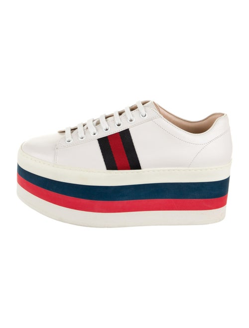 Gucci Peggy Platform Wedge Sneakers White