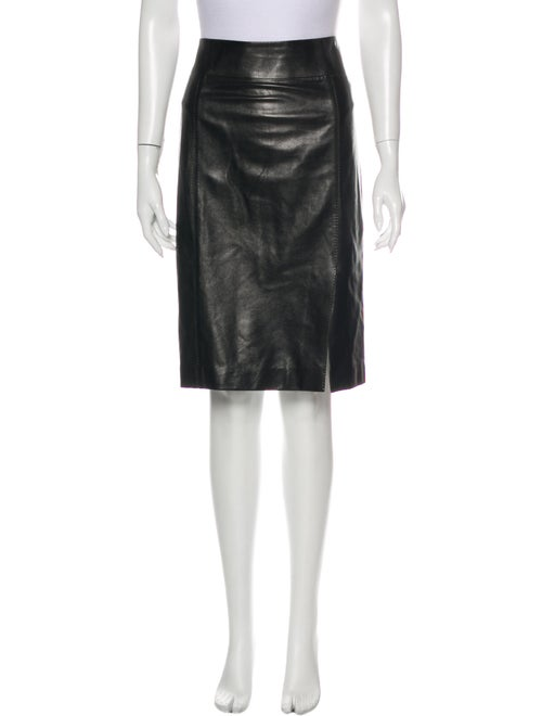 Gucci Leather Knee-Length Skirt Black