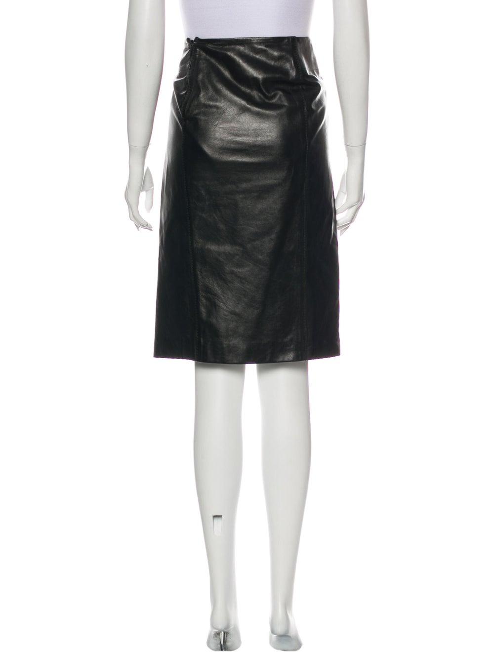 Gucci Leather Knee-Length Skirt Black - image 3