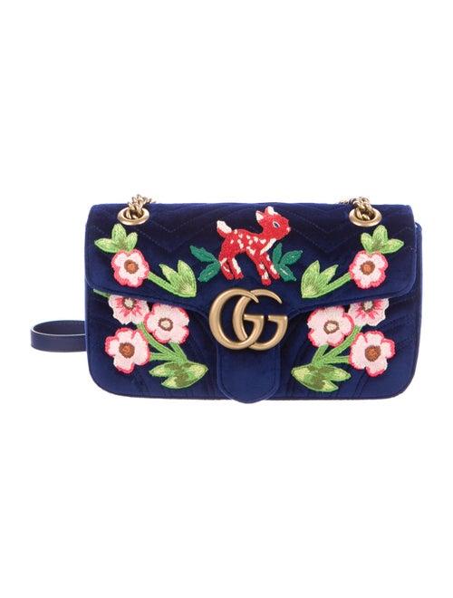 Gucci GG Marmont Matelassé Embroidered Velvet Shou