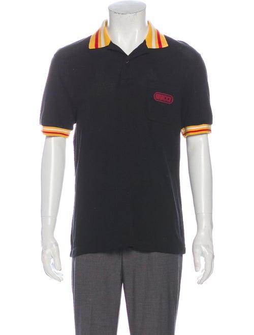 Gucci Web Accent Striped Polo Shirt Black
