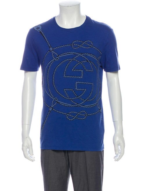 Gucci Graphic Print Scoop Neck T-Shirt Blue
