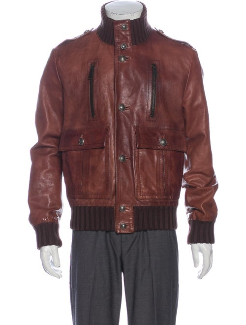 Gucci Leather Bomber Jacket Brown