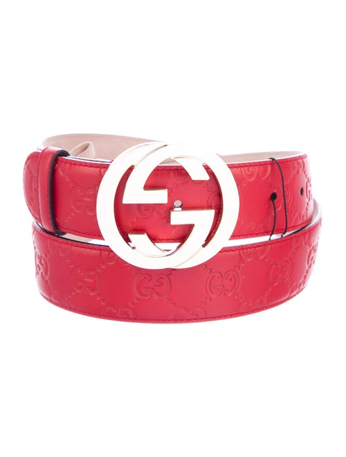 Gucci Signature GG Leather Belt w/ Tags red