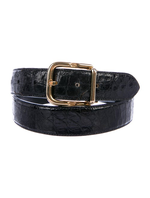 Gucci Vintage Crocodile Belt Black
