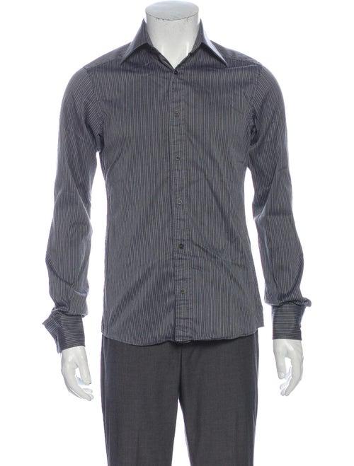 Gucci Striped Long Sleeve Dress Shirt Grey