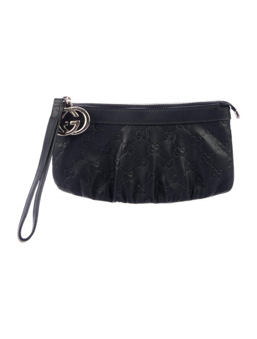 Gucci Signature Leather Wristlet Black