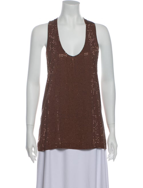 Gucci 2014 Scoop Neck Top Brown