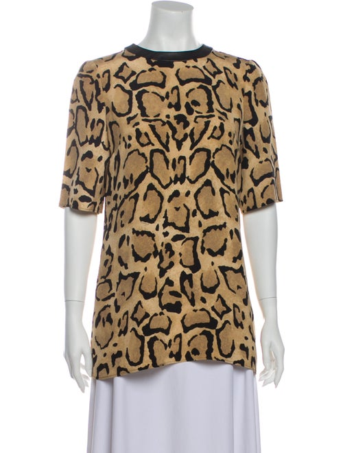 Gucci Animal Print Crew Neck Blouse
