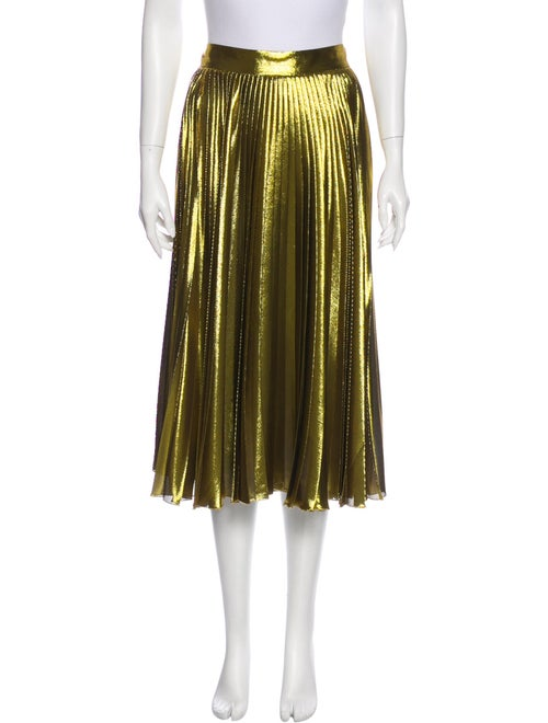 Gucci Silk Pleated Skirt Gold