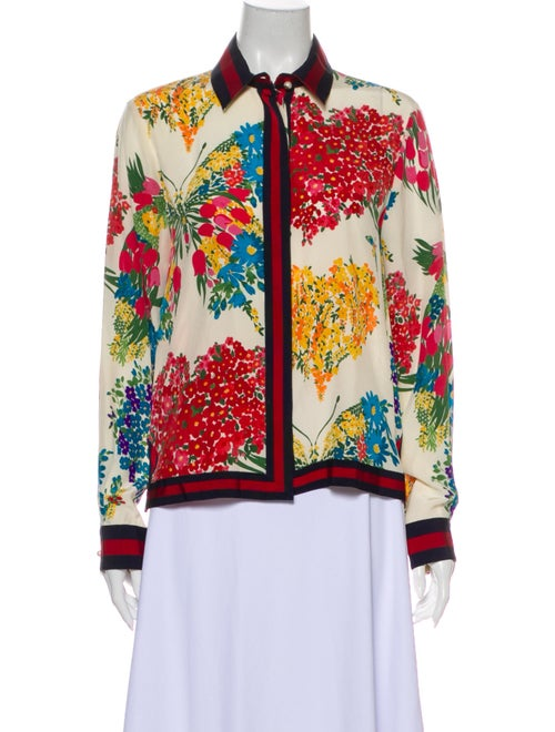Gucci 2017 Corsage Print Button-Up Top