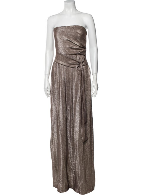 Gucci Strapless Long Dress Metallic