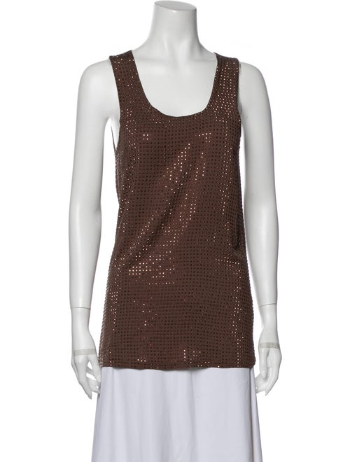 Gucci Scoop Neck Sleeveless Top Brown
