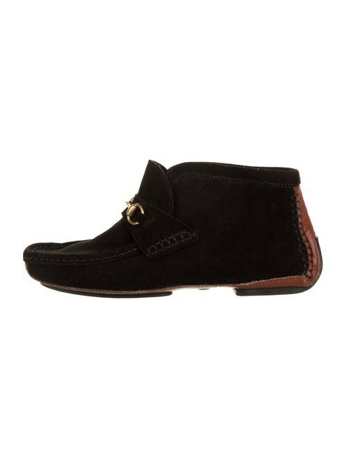 Gucci Suede Horsbit Booties black
