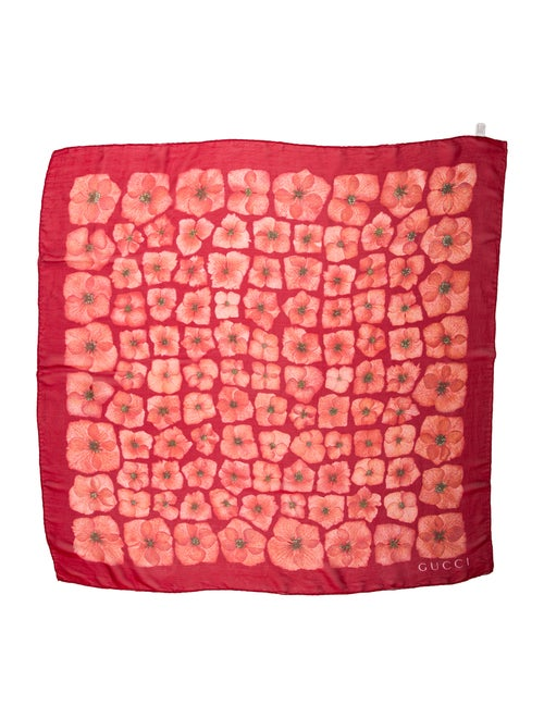 Gucci Silk Floral Scarf Red - image 1