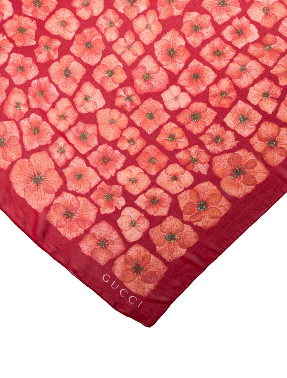 Gucci Silk Floral Scarf Red - image 2