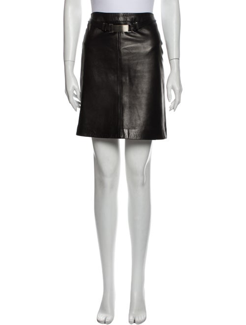 Gucci Leather Mini Skirt Black