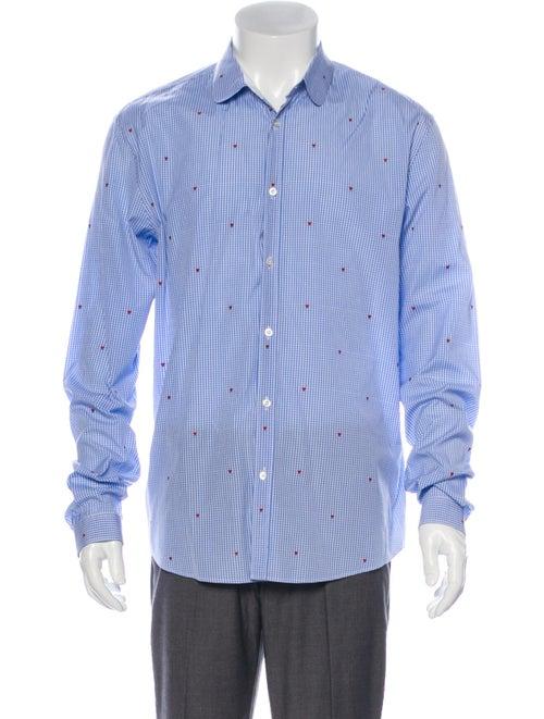 Gucci Hearts Dress Shirt Striped Dress Shirt Blue