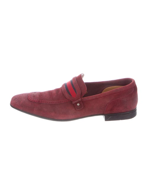 Gucci Web Accent Suede Loafers