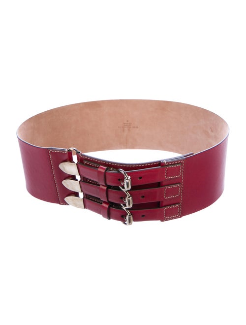 Gucci Leather Wide Belt silver