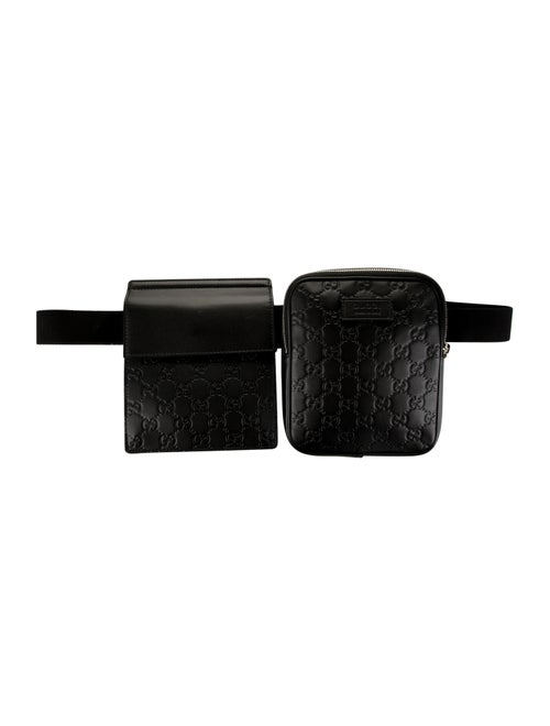 Gucci Men's Signature Leather Belt Bag Black