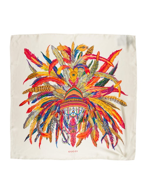 Gucci Silk Feather Scarf multicolor