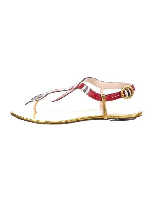 Gucci Kingsnake Leather T-Strap Sandals Gold